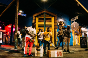 Band playing music on the street