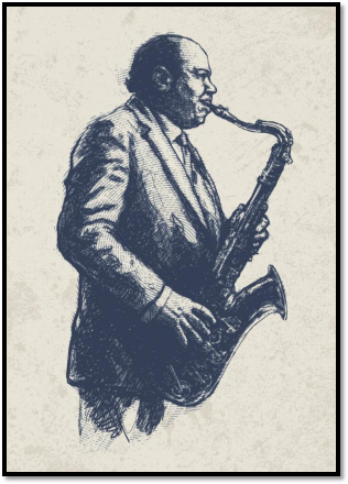 artistic image of man playing saxophone