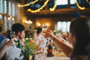 People offering a toast in the party