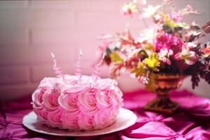 Pink anniversary cake