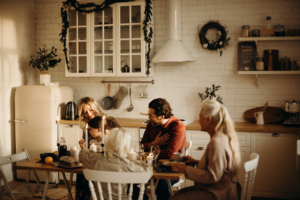 Family sitting at the dinning table
