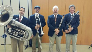 jazz band in blue suits