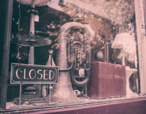 Old music instruments shop
