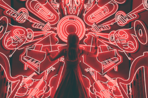 Artistic image of girl and musical instruments