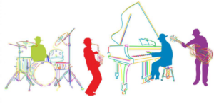 cartoonistic music playing image