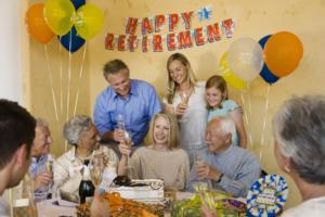 senior woman celebrating her retirement party